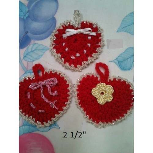 3  crocheted  little hearts -gift tags or any other decor