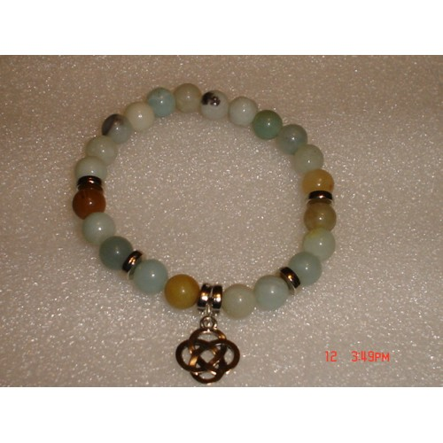 Handcrafted Amazonite with Antique Silver Tone Celtic Knot Bracelet cde0612e