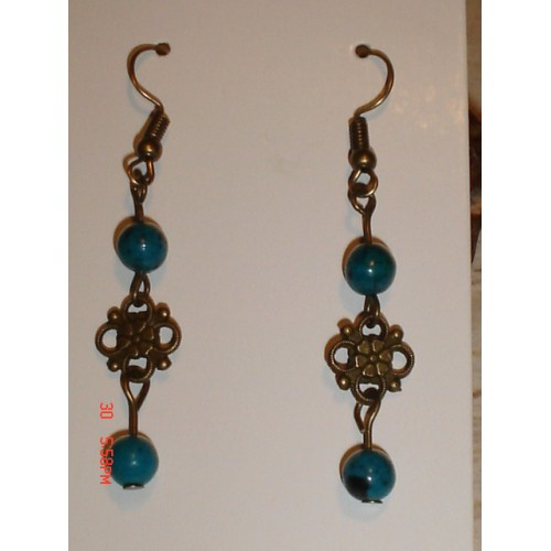 Handcrafted Antique Bronze Tone Floral with Chrysocolla Stone Antique Bronze Tone French Wire earrings cde0530i