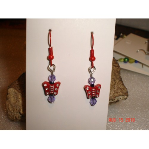Handcrafted Red Butterfly Earrings Red Tone French Wires cde0815n