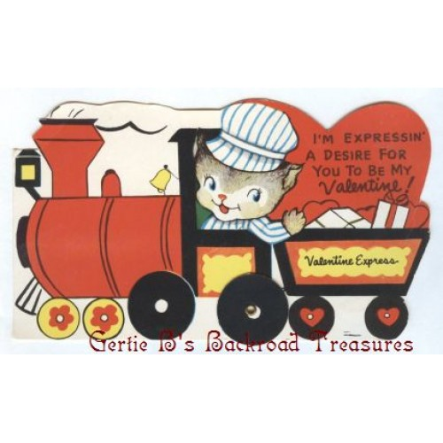 Vintage Valentine Card Little Boy in a Train