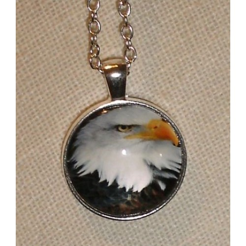 Handcrafted Eagle Pendant with Glass Dome Silver Tone Chain cde0504b