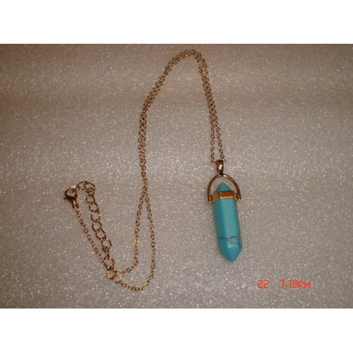 Handcrafted Dyed Blue Howlite Point Pendant Necklace with Gold Tone Chain cde0722f