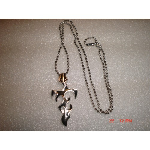 Handcrafted Unisex Silver Tone and Black Enamel Flame Cross Pendant Necklace with Silver Tone Chain cde0722g