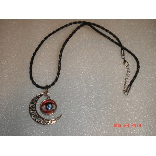 Handcrafted Antique Silver Tone Crescent Moon with Silver Tone Domed Eye Pendant Necklace cde0828b