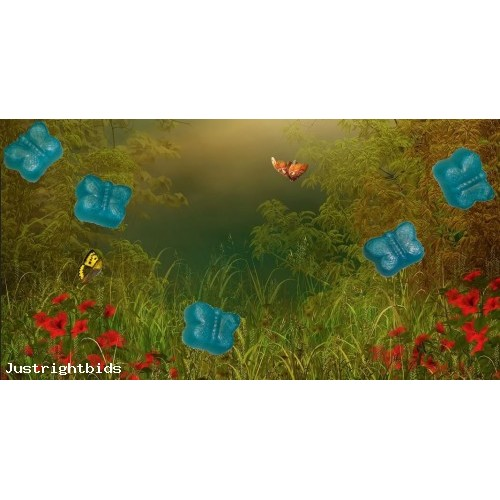 After the Storm Scent 5 Glycerin Soaps with Blue color Small Butterflies