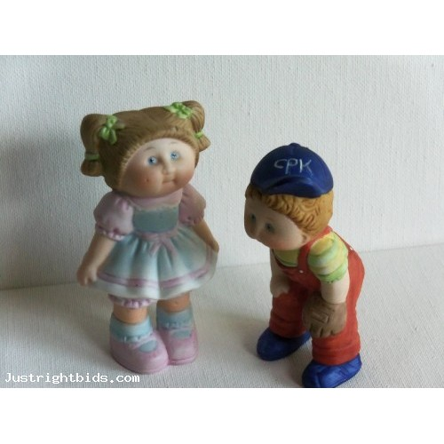 1984 Cabbage Patch Doll Figurines Edition BASEBALL Boy & Pretty Dress Girl OAA Inc.  (2)