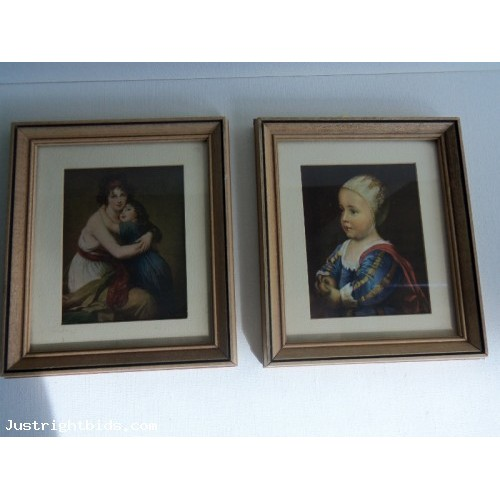Vintage Pair of Victorian Prints Wood Frames and Glass