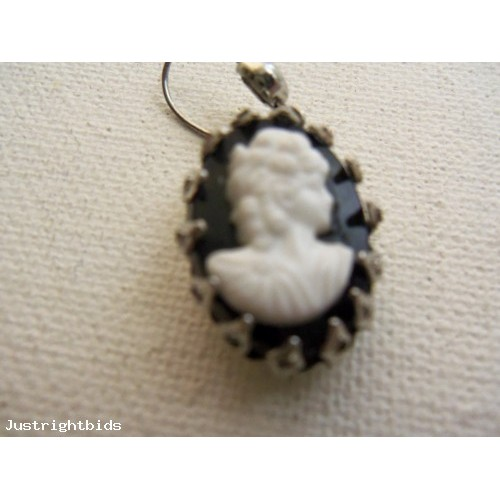 Vintage/Retro Hanging White on Black Cameo Earrings