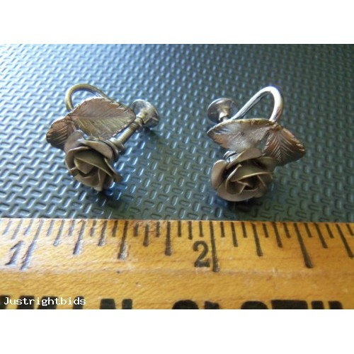 BOND BOYD ~ Signed ~ Carved Sterling Rose Screwback Earrings