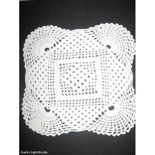 CRAFTS-Handmade White Crocheted cotton square Doily 7x7