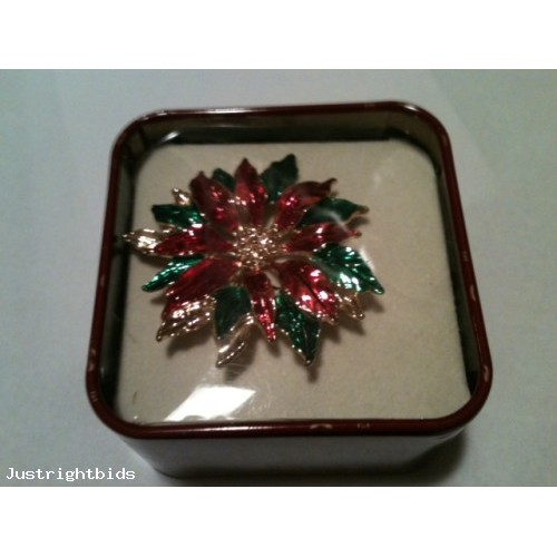 Vintage-Christmas -Poinsettia Brooch-Pin -NEW  in a original Tin Box