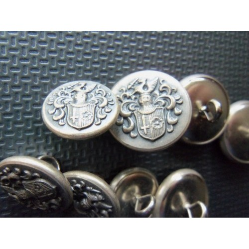 Vintage Retro 8 Shield Pewter Color Metal Buttons