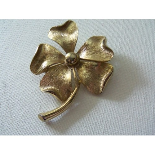 Sarah COVENTRY Vintage Retro Golden 5 Leaf Clover