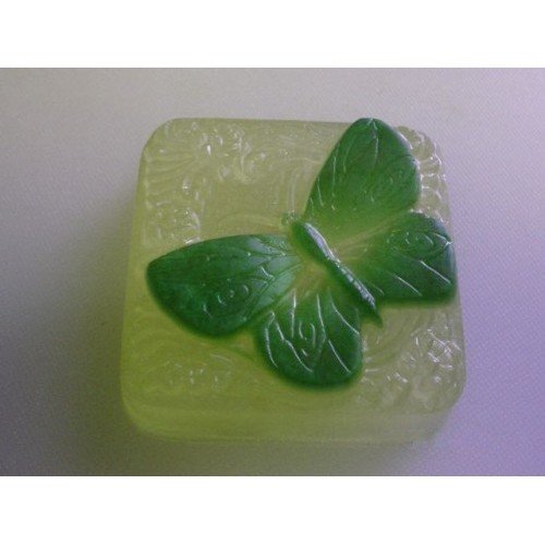 Absinthe Scent Handcrafted Glycerin Soap Butterfly Yellow and Green Color