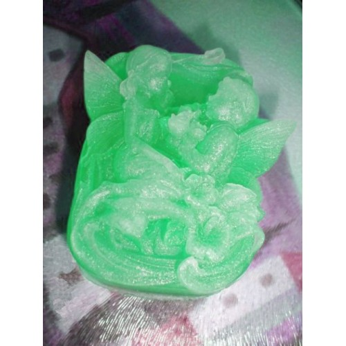 Avalon Juniper (type) Scent Handmade Glycerin Soap 3 Dimensional Fairy Love Green Color