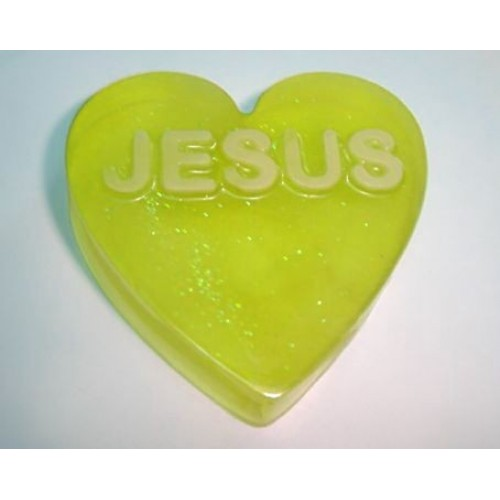 Oriental Garden Scent Scent Handcrafted Glycerin Soap Heart Shape Word Jesus Yellow Color