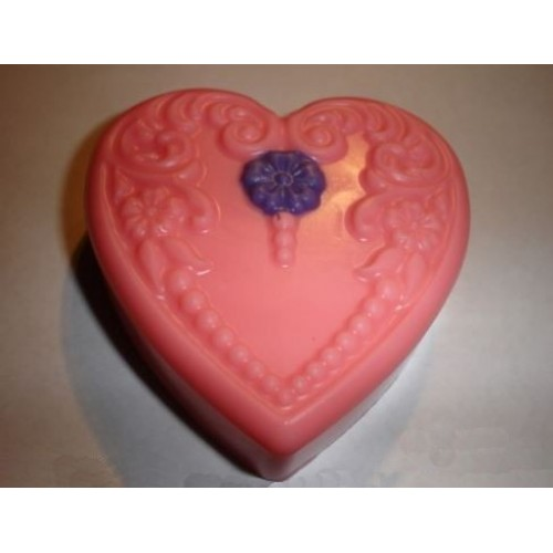 Teaberry Scent Handcrafted Glycerin Floral Heart Soap Pink with Purple