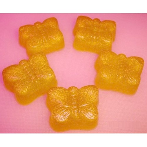 Oatmeal Milk and Honey Scent 5 Glycerin Soaps with Yellow color Small Butterflies