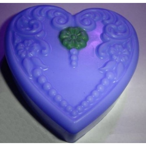 Cool Water for Men (type) Scent Handcrafted Glycerin Floral Heart Soap Blue with Green