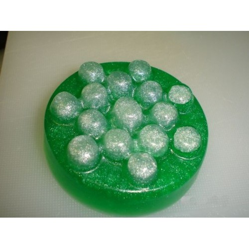 Australian Bamboo Grass Scent Glycerin Soap Round Massage Top Green Color