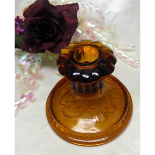 1148 Indiana Tiara Amber Taper Candle Holder