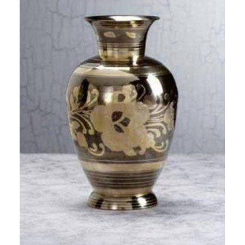 29363 World of Products Medium Brass N Pewter Floral Vase