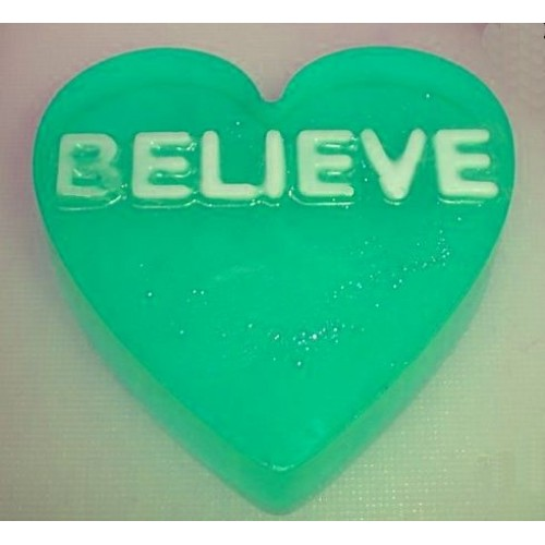 Amazing Grace Scent Scent Handcrafted Glycerin Soap Heart Shape Word BELIEVE Green Color