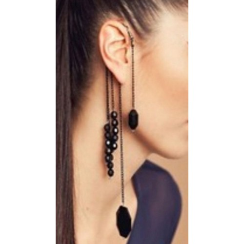 Ear Hugger Cuff Antique Bronze and Black Color Single Ear