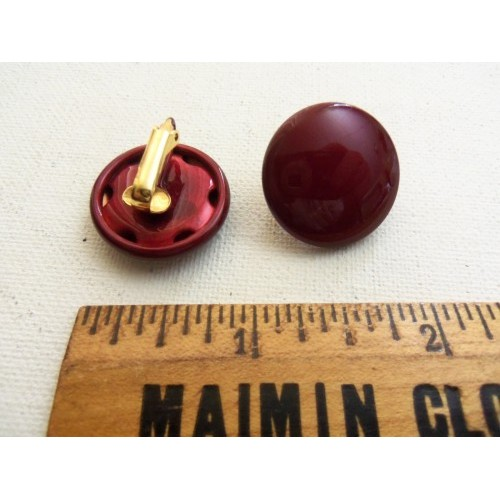 Vintage / Retro Button Round Clip on Earrings