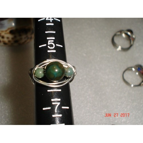 Artisan Handcrafted Wire Wrapped Silver Tone Copper Wire Ring with Dyed Agate Bead and Green Aventurine Beads Size 6.25 cde627c